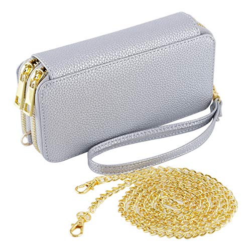HAWEE Wristlet Clutch Wallet for Women Shoulder Bag with Chain Strap Cell Phone Purse, Silver Grey