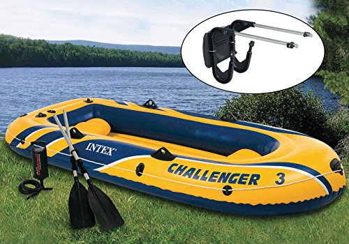 (INTEX Challenger 3 Boat Set Inflatable w/ Motor Mount Kit)