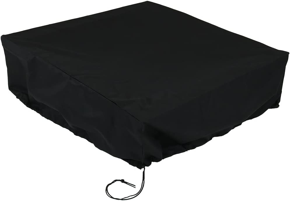 Sunnydaze Square Fire Pit Cover - Heavy-Duty 300D Polyester - Weather Resistant - Waterproof PVC Material - Drawstring & Toggle - 48-Inch Square x 18-Inch Height