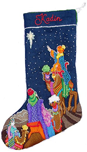 Crewel Embroidery Christmas Stockings - 'Three Wise Men' Crewel Christmas Stocking