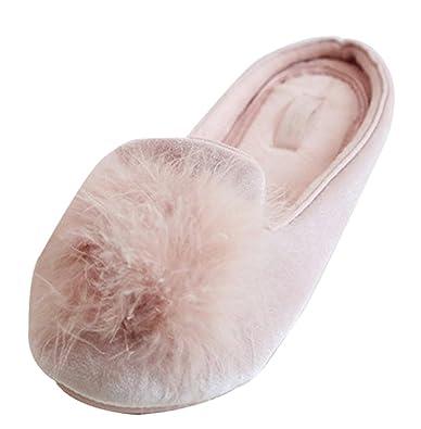 1917c9503eb FreLO Women s Pink Plush Pom-pom Fuzzy Slippers Anti-Slip Fluffy Slippers (4