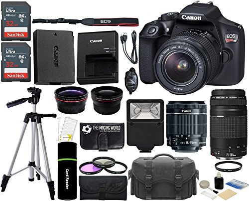 Canon EOS Rebel T6 18MP Wi-Fi DSLR Camera with 18-55mm IS II Lens + EF 75-300mm III Lens + 2x SanDisk 32GB Card + Wide Angle Lens + Telephoto Lens + Flash + Grip + Tripod – 64GB Accessories Bundle