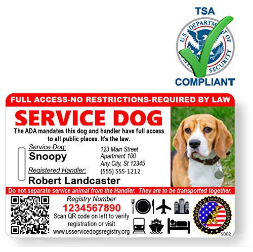 Just 4 Paws Custom Holographic QR Code Service Dog ID Card with Registration to Service Dogs Registry with Strap - Landscape -