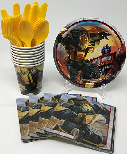 Transformers Birthday Party Supplies Snack Pack for 8 Guests Including Dessert Plates, Beverage Napkins, Cups and Cutlery