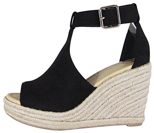 Cambridge Select Women's Open Toe Perforated Buckled Ankle Strap Espadrille Platform Wedge Sandal (10 B(M) US, Black (Black Retro Wedge Sandals)