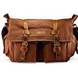 GEARONIC 14''-17'' Men's Messenger Bag Laptop Satchel Vintage Shoulder Military Crossbody … (17 inch, Coffee)