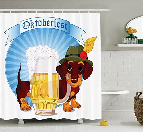 Ambesonne Festival Decorations Collection, Illustration of Dachshund Dog and A Pint of Beer on Striped Background, Polyester Fabric Bathroom Shower Curtain, 84 Inches Extra Long, Blue Yellow (Dachshund Soap)