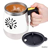 Self stirring coffee mug - Automatic mixing stainless steel cup - To stir your coffee, tea, hot chocolate, milk, protein shake, bouillon, etc. - Ideal for office, school, gym, home - 400 ml/13.5 oz