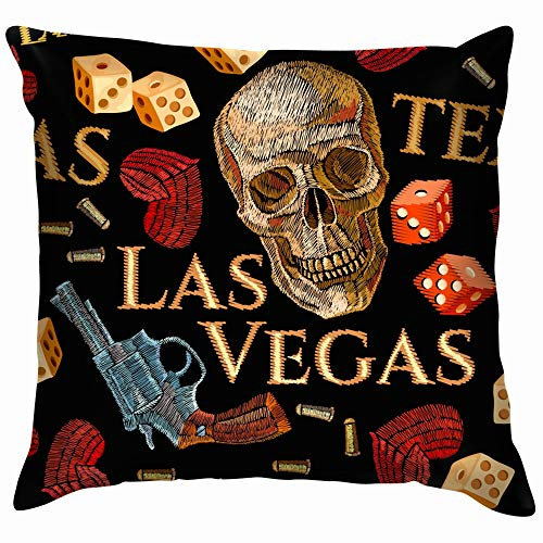 Embroidery Skulls Hearts Guns Casino The Arts American Beauty Fashion Cotton Linen Home Decorative Throw Pillow Case Cushion Cover for Sofa Couch 22X22 Inch]()
