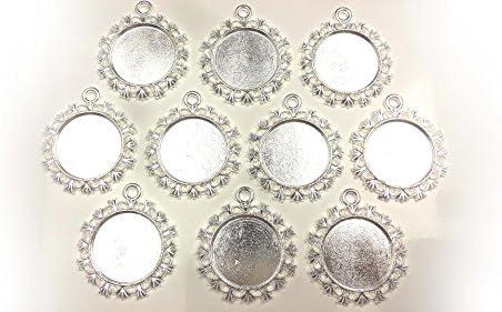 【HARU雑貨】シルバー ミール皿 10枚セット/丸皿 花 華 レース 銀 s16/レジン アクセサリーパーツ