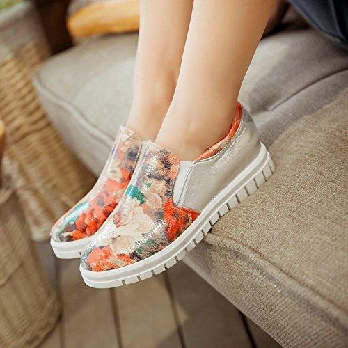 Carolbar Mujeres Floral Print Shiny Assorted Colors Elegancia De La Moda Confort Casual Pisos Zapatos Plata