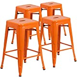 Vogue Furniture Direct 24'' High Barstools Backless Orange Metal barstool Indoor-oudoor Counter Height Stool with Square Seat, Set of 4
