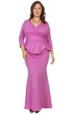 Jersey Glam Maxi Dress Plus Peplum 3/4 Sleeve Solid Mermaid Ruffle Gown Cocktail Magenta