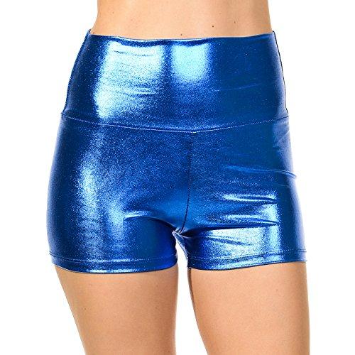 Anza Girls High Waist Dance Booty Shorts-Royal Blue Metalic,Large -