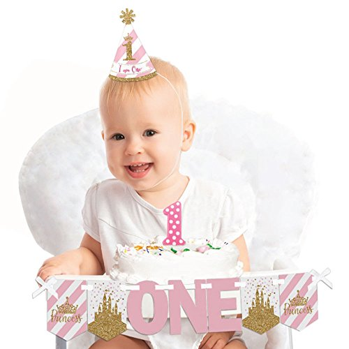 (Little Princess Crown 1st Birthday - First Birthday Girl Smash Cake Decorating Kit - Pink and Gold Princess High Chair Decorations)