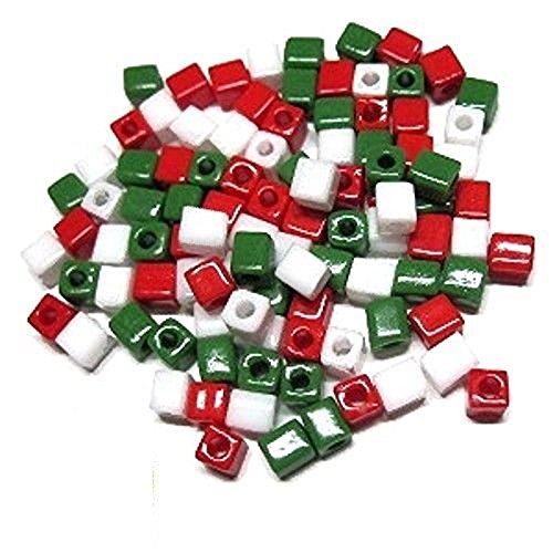 - MIYUKI CUBE GLASS SEED BEADS 4mm choice of color 100pc (Holiday Mix Opaque~WHITE Opaque/SB402~RED Opaque/SB407~GREEN Opaque/SB411)