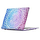 iCasso Mandala Macbook Air 13 Inch Case Art Printing Matte Hard Shell Plastic Protective Cover For Apple Laptop Macbook Air 13 Inch Model A1369/A1466 (Purple Medallion)