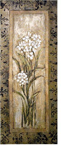 Paperwhite I by Mindeli | Woven Tapestry Wall Art Hanging | White Blooming Narcissus Bulbs | 100% Cotton USA Size 53x22 (Silk Wool Tapestry)