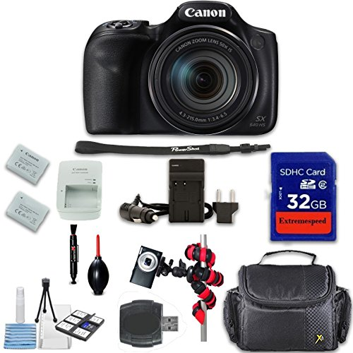 Canon PowerShot SX540 HS Digital Camera + Extremespeed 32GB High Speed Memory Card + High Speed Memory Card Reader + Spider Tripod + Camera Case and More by Eternal Photo