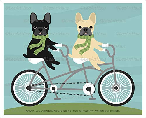 683D Two French Bulldogs Riding Tandem Bicycle UNFRAMED Wall Art Print by Lee ArtHaus