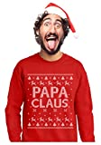 TeeStars - Papa Claus Holiday Dad/Grandpa Ugly Christmas Sweater Sweatshirt Large Red