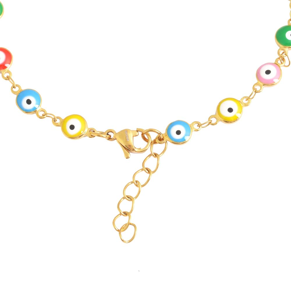 1.25 Extender 9 1.25 Extender Edforce Stainless Steel B079Y6W2TJ/_US 9 Edforce 18k Gold Plated Multi-Colored Yellow Blue Red Green Pink Evil Eye Anklet
