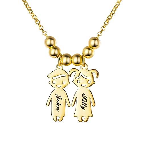 Custom4U Mutter Name Halskette mit Kindernamen