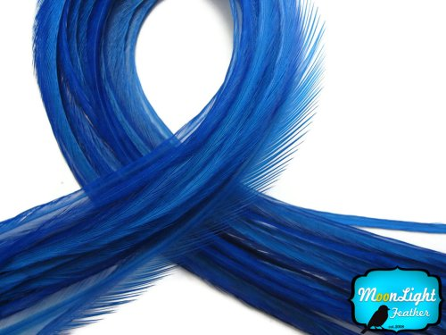 Moonlight Feather, Hair Extension Feathers - Solid Royal Blue Color - 7-10 Inches Long, 10 - 1pm Special Delivery By