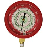Yellow Jacket 49511 3-1/2 Liquid-Filled Gauge (degrees F and degrees C), Red Pressure, 0-500 psi (0 to 34 bar), R-22