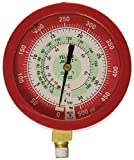 """Yellow Jacket 49511 3-1/2"""" Liquid-Filled Gauge (degrees F and degrees C), Red Pressure, 0-500 psi (0 to 34 bar), R-22"""