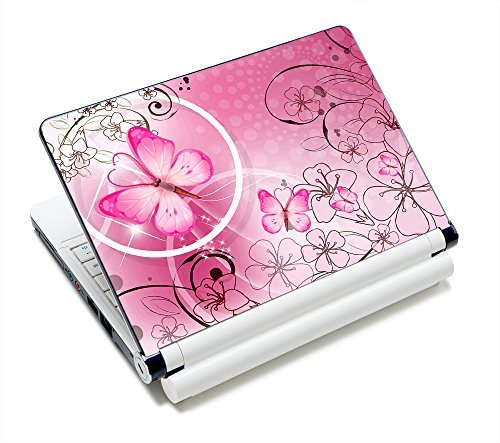 "Pink Butterflies & Flowers NEW 11.6"" 12.1"" 13"" 13.1"" 13.3"" 14"" 15"" 15.4"" 15.6"" Netbook Laptop Skin Sticker Reusable Protector Cover Case for 11.6"" -15.6"" Inch Toshiba Hp Samsung Dell Apple Acer Leonovo Sony Asus Laptop Notebook PC FY-NEK-009"