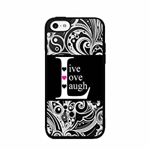 Black Live Love Laugh Plastic Phone Case Back Cover iPhone 5 5s comes with Security Tag and MyPhone Designs(TM) Cleaning Cloth