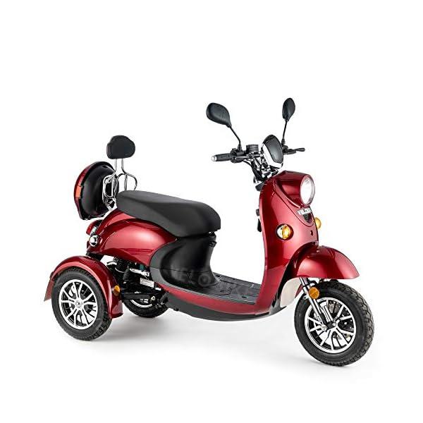 VELECO ZT63 Scooter elettrico 3 ruote per anziani e disabili Seniors Allarme 650W ROSSO 3 spesavip