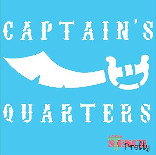 "Stencil - DIY Captain's Quarters Nautical Pirate Sword Beach Sign - S (14"" x 9.5"")"