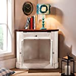Homary Farmhouse Corner Accent Cabinet Distressed Triangle Storage Cabinet with Doors, White