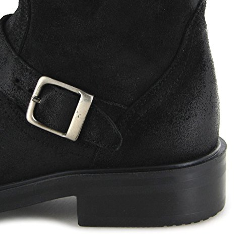 Fashion Stan Engineer Boots OHEN Steel Toe Cap Boots Serraje Black CBbdW