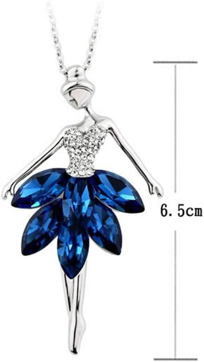 blu Ballerina Collana Crystal balletto ballerina ballerino di catena fascino del pendente