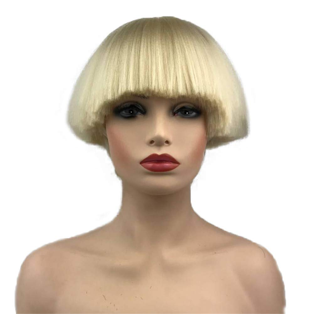 Aimole Short Yaki Straight Synthetic Wigs Blonde Mushroom Head Wig Bowl  haircut Wigs Bob