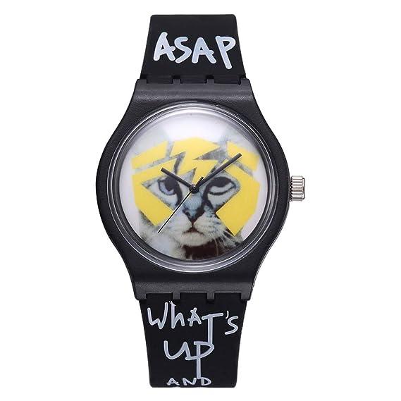 Reloj Hombre Mujer Chicos Chicas Letras Gato Sin Números Banda de Silicona de Cuarzo analógico - Amarillo: Amazon.es: Relojes