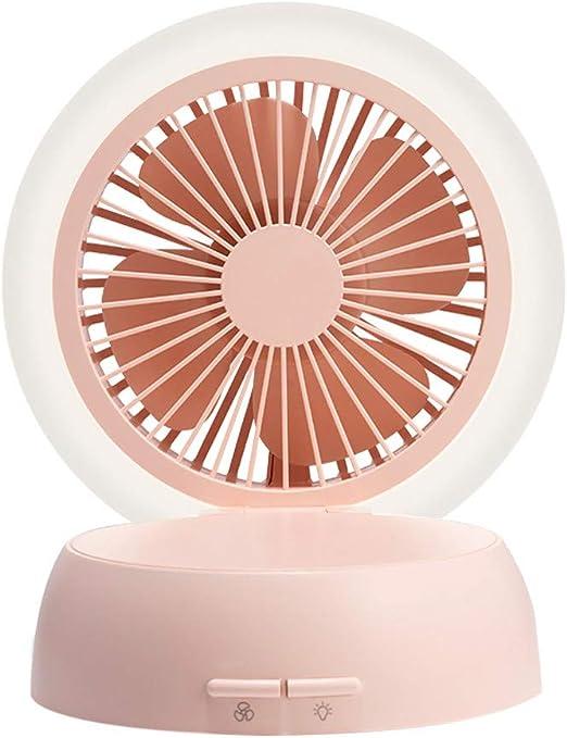 Color : White Mini Portable Cooling Fan Mushroom Portable Mini Fan Handheld USB Rechargeable Air Cooling Desktop Fan with LED Night Light Makeup