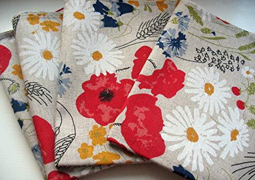 Linen Napkins Cloth Napkins Wedding Napkins Gray Daisies Poppies Flowers Holders