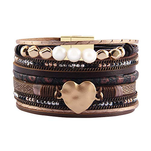 Jenia Women Leather Cuff Bracelet Multi Strand Wrap Around Bracelets Charm Heart Boho Bangle Handmade Jewelry for Girls, Mother, Wife, Ladies, Lover Gift ()
