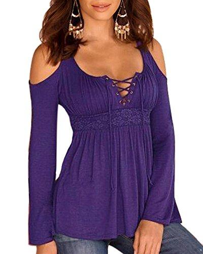 p V Neck T Shirts Tops Blouse Women Cotton Lace Up Solid Soft Purple XXXL (Cut Out Solid Cotton)