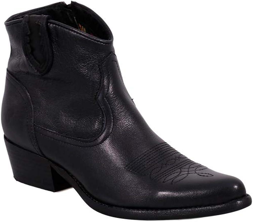 Felmini - Zapatos para Mujer - Enamorarse com West B504 - Botines Cowboy & Biker - Cuero Genuino - Negro