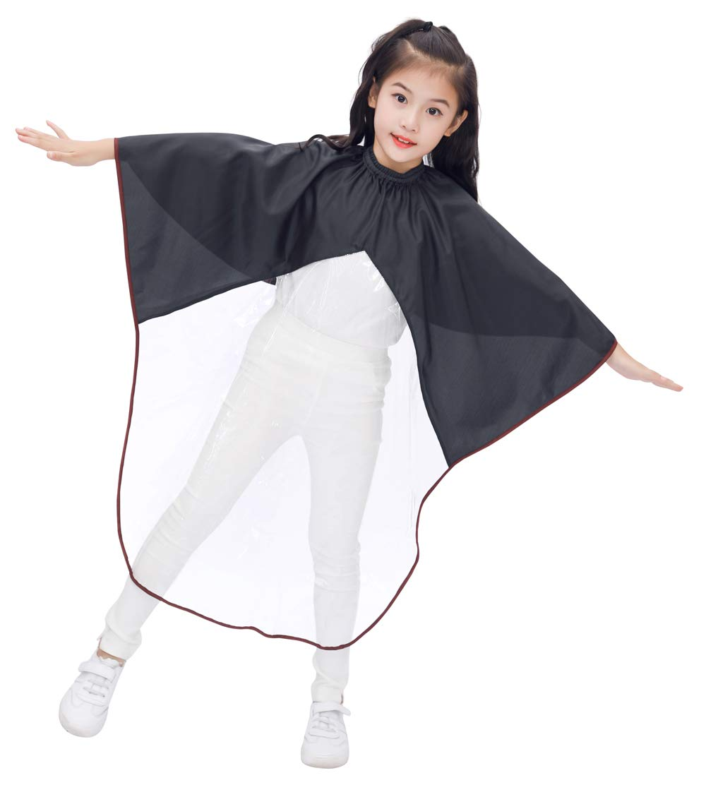 Kids Haircut Cape with Viewing Window, Kids Barber Cape for Hair Cutting-Black by PERFEHAIR