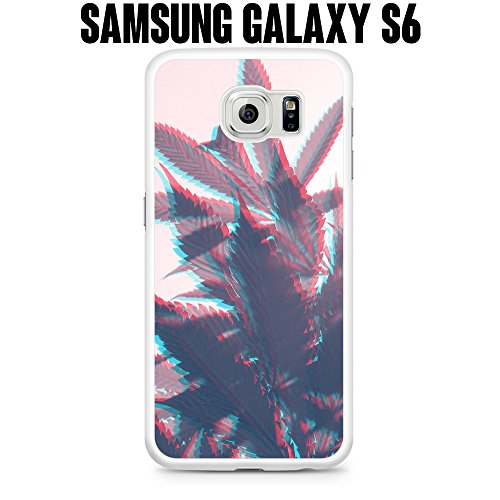Phone Case Trippy Weed 420 for Samsung Galaxy S6 EDGE SM-G925 Plastic White (Ships from CA)