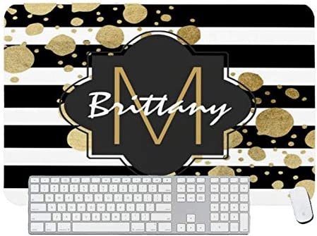 Gaming Mouse Pad Faux Gold Paint Splatter on Black /& White Monogram for Desktop and Laptop 1 Pack 1200x600x3mm//47.2x23.6x1.1 in