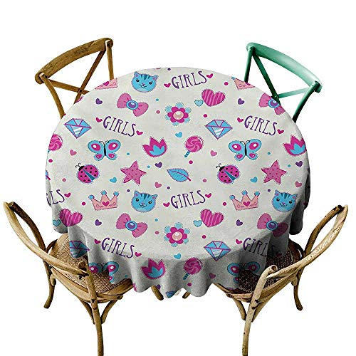 SKDSArts Fabric Tablecloths for KitchenTeen Girls,Pattern with Funny Doodle Elements Bowtie Ladybird Diamond Figures and Kitty,Fuchsia Blue D70,Patterned Tablecloth