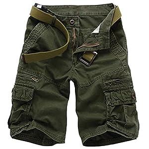 Roludom Men's Casual Multi Pocket Cargo Shorts ¡