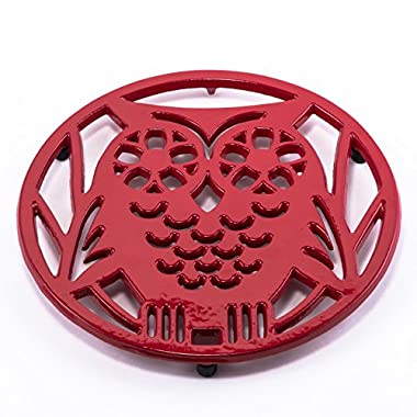 Old Dutch Wise Owl Trivet, Tango Red